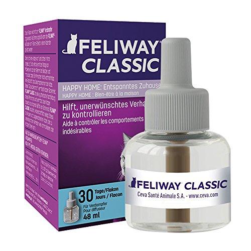 FELIWAY Classic - Antiestrés para Gatos - Marcaje con orina, Miedos, Cambios en el Entorno, Arañazos Verticales - Recambio 48ml
