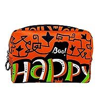 化粧ポーチ ジッパークロージャーメイクアップバッグ, 幸せなハロウィーンのカボチャのパターン