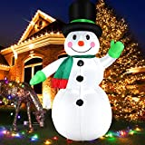 210 cm Inflable Muñeco de Nieve con Luz LED, 7 Pies Inflable Muñeco de Navideño Nieve Iluminación, Navideña Gigante Figura IP44 Impermeable Decoración Para Jardín Exterior Interior Navidad Fiesta
