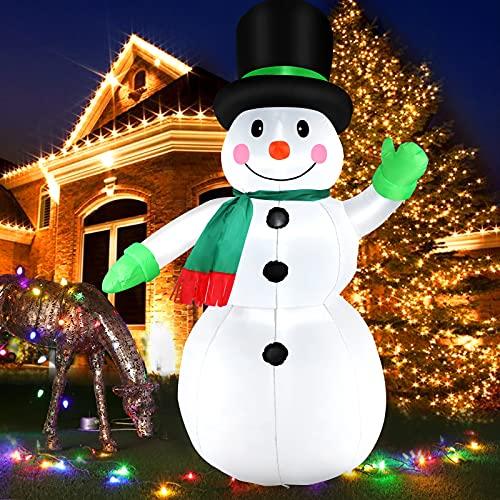 210 CM Aufblasbar Schneemann mit LED Licht Gebläse, 7 Fuß Aufblasbar Christmas Snowman Riesen Figur mit Geschenkbox, Weihnachtsdeko IP44 Wetterfest Beleuchtung Winterdeko für Außen Innen Garten Rasen