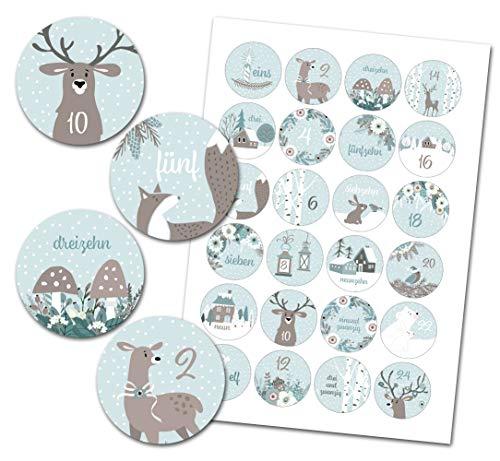 Kreatives Herz - 24 Adventskalender Zahlen - Aufkleber für Adventskalender - Vintage Wald BLAU - perfekt geeignet zum Adventskalender basteln und befüllen