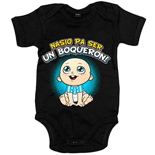 Body bebé nacido para ser un Boquerón Málaga fútbol - Negro, 12-18 meses