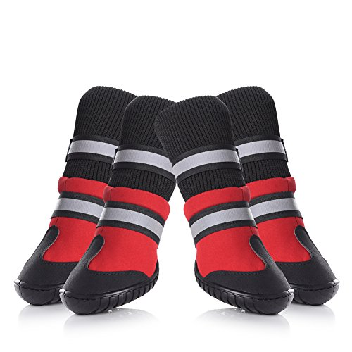 Petacc Dog Shoes Waterproof Dog Boots Anti-slip Snow Boots Warm Paw Protector for Dog in Winter Size XL