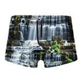 Kimisoy Boxer Swimsuit for Men Waterfall Jungle Rural Tie Rope Boxer Brief Shorts Soft Underwear Shorts Large Black