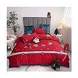 NAFE - Juego de sábanas de algodón de 4 piezas con sábanas suaves - Sábanas extra suaves - Fácil ajuste - Transpirable y refrigerante - Sin arrugas - Juego de sábanas rojo Queen