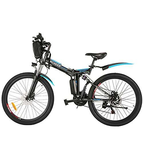 ANCHEER 26'' Electric Folding Bikes for Adults, 250W Electric Bicycle...