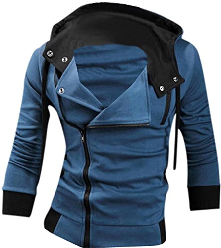 Jeansian Casual chaqueta con capucha Slim Fit Prendas con capucha Tops Deporte capa del cierre relámpago para Hombres US L (Jacket Chest: 106-112cm) Blue