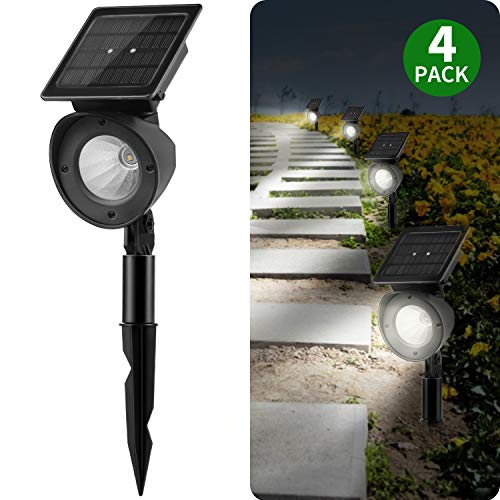 Solar Landscape Lighting Outdoor, Brightown 4 Pack High Lumen Waterproof Led Spot Lights for Yard Driveway Garden Pathway Lawn Walkway Pool Patio Wireless, Automatic On/Off