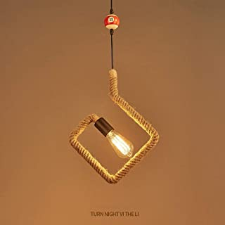 ZAQXSW Hemp Rope Hanging Ceiling Light Vintage Pendant Lights Billiard Chandelier Light Fixture Rustic Art Deco for Living...