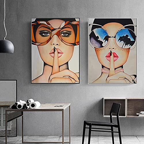 YRWL Labios Rojos con Grandes Gafas Carteles Impresiones Pintura en Lienzo Belleza Mujer Moderna Decoración Arte de la Pared Imágenes para Sala de Estar 60x90cmx2 Sin Marco