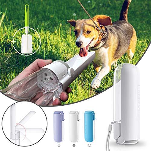 Botella de Agua para Perros Gatos 420 ml, Botellas para Mascotas Portátil Plegable de 180 ° con Cepillo de Limpieza, a Prueba de Fugas, sin BPA, para Viajes Aire Libre, Senderismo, Camping (Blanco)