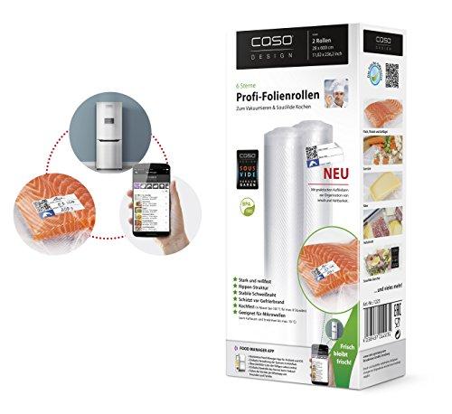 CASO Profi- Folienrollen 27,5x600cm/2 Rollen, für alle Balken Vakuumierer, BPA-frei, sehr stark & reißfest ca. 150µm, kochfest, Sous Vide geeignet, wiederverwendbar, für Folienschweißgeräte geeignet