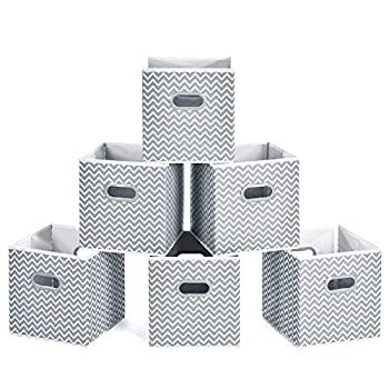 MaidMAX Cloth Cube Storage Bins Foldable Fabric Closet Storage Cubes Baskets for Home Office Nursery Toy Organizers and Storage 10.5×10.5×11   Set of 6 Gray Chevron