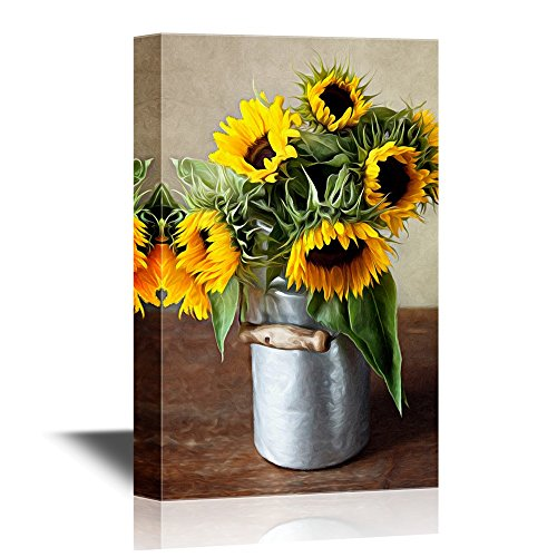 wall26 - Canvas Wall Art - Still Life Illustration with Sunflowers in Oil Painting Style - Gallery Wrap Modern Home Art | Ready to Hang - 16x24 inches
