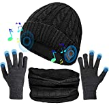 (3 in 1) Bluetooth 5.0 Music Beanie Set, Cuffed Winter Hat + Touchscreen Gloves + Neck Gaiter Scarf, Xmas Birthday Gift for Men Women Teenagers, Black