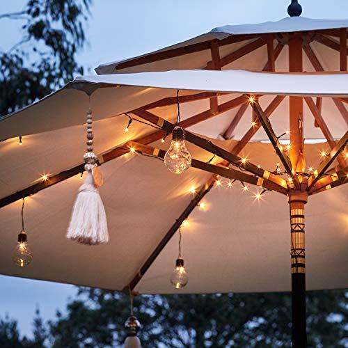 Lights4fun Guirnalda Luminosa para Sombrilla de 80 LED Blancos Cálidos a Pilas...