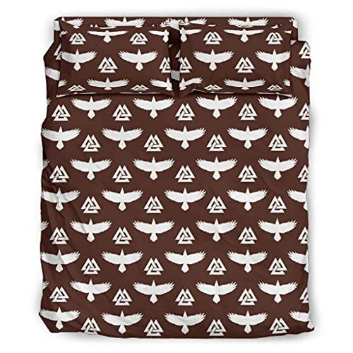 Josephion Juego de sábanas Viking Odin Ravens - Juego de sábanas de cama de 4 piezas, ligera, resistente a las arrugas, para el hogar, dormitorio, 203 x 230 cm, color blanco