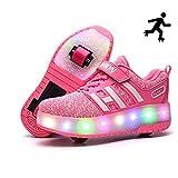 Sunflower LED Leuchtschuhe Kinder Skateboard Schuhe Rollschuh Schuhe Unisex Kids LED Schuhe Mit Verstellbaren Automatikrädern Sneakers Für Jungen...