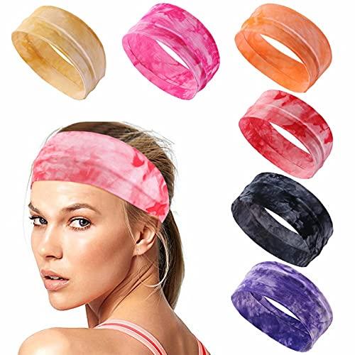Sports Workout Headbands Wig's Elastic Headbands Yoga Headband Sweat Wicking Hair Bands Tie Dye Elastic Non Slip Sweat Headbands Pure Cotton Light and Thin(6packs))