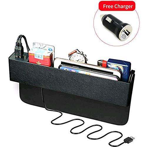Baobë Seitliche Organizer-Box für Autositze,Aufbewahrungsbox Für Auto, Füller für Autolücken,Organizer für Autotaschen und 2 USB-Ladestationen für Mobiltelefone.