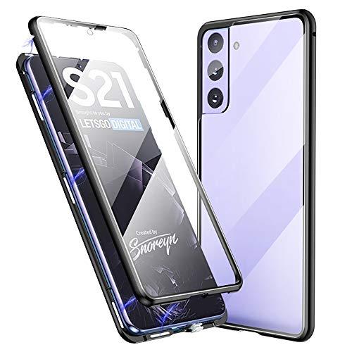 Jonwelsy Funda para Samsung Galaxy S21, 360 Grados Delantera y Trasera de Transparente Vidrio Templado Case, Fuerte Tecnología Adsorción Magnética Metal Bumper Cubierta para Samsung S21 (Negro)