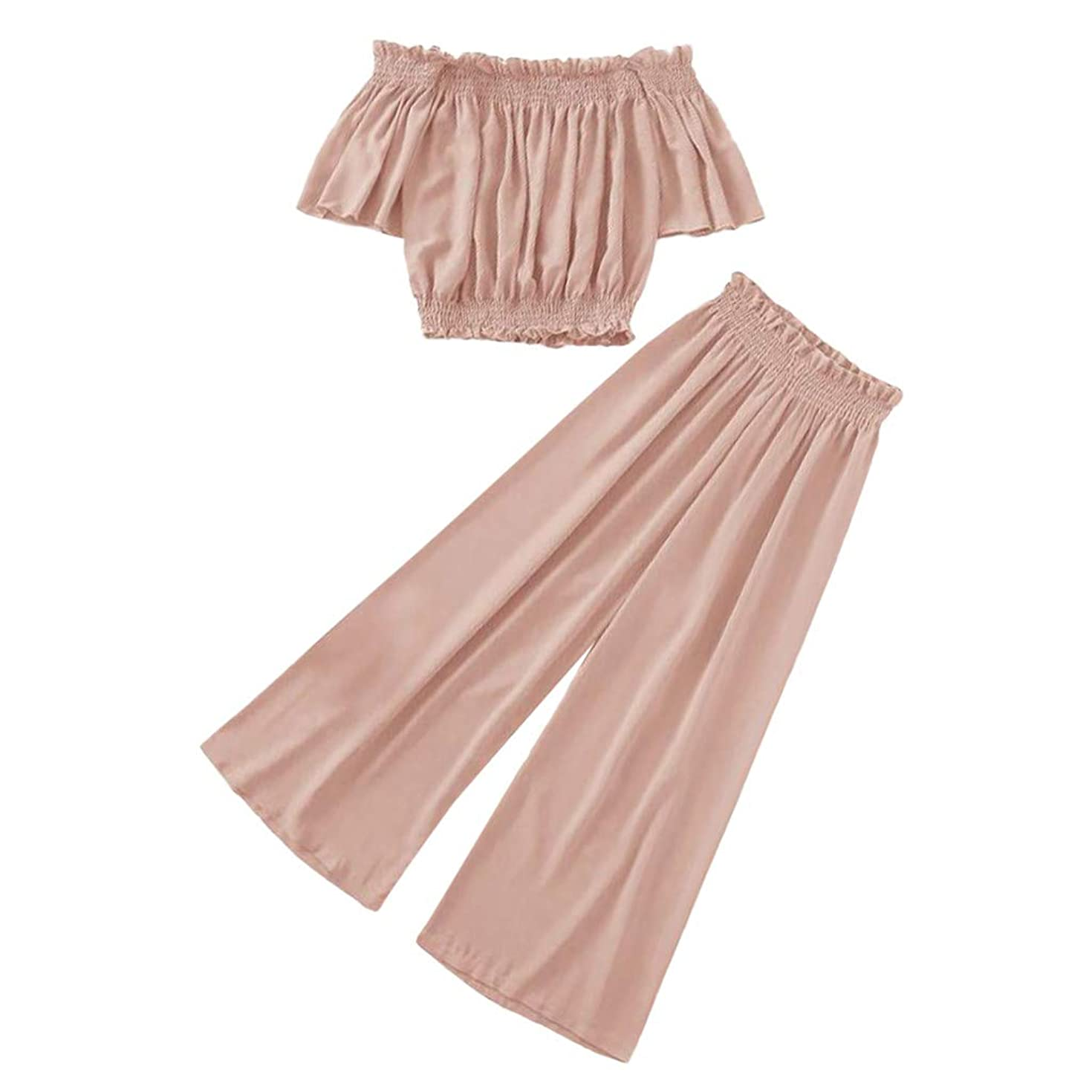 EDC 2019 Womens Plus Size Cute Solid Sets Loose Off Shoulder Ruffle Shirt Tube Top and Wide Leg Palazzo Pants Suits 2PCS
