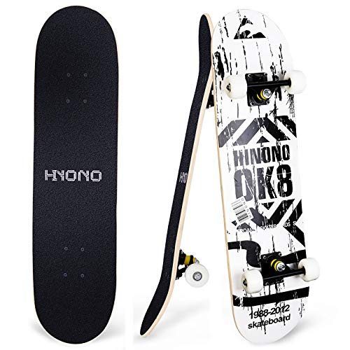 """Toyerbee Skateboards with A Repair Kit, 31"""" x 8"""" Complete Skateboard for Kids & Adults, 9 Layer Canadian Maple Double Kick Skate Board for Extreme Sports and Outdoors, Skateboards for Beginners &Pro"""