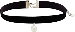 Black Velvet Choker with Synthetic Pearl Drop Accent