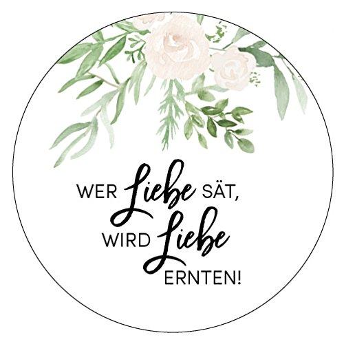 48 x Aufkleber 40 mm Hochzeit Blumensamen Greenery Gastgeschenk Etikett 175420
