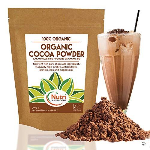 POUDRE de CACAO BIO - Végétalien ingrédient chocolat noir - Sans sucre - pour votre plaisir de cuisiner et vos smoothies (200g)