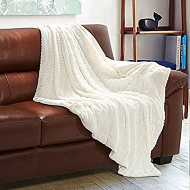 Bedsure Faux Fur Fleece Throw Blanket 60x80 Ivory Rustic Home Decor Bedding Blanket