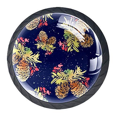 Runde Schublade Griff Weihnachten Kiefern Kristallglas Kommode Schrank Knöpfe zieht mit Schrauben für Home Küche Kleiderschrank Schrank Schrank 4 Stück