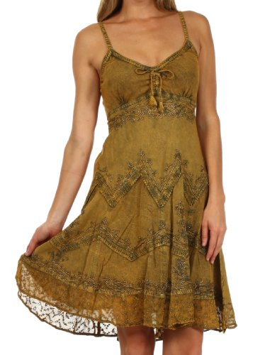 Sakkas 4031 Stonewashed Rayon verstellbares Mid Length Kleid - Old Gold - 1X / 2X