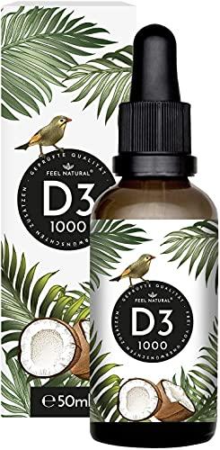 Vitamin D3 - 1000 I.E. pro Tropfen - 50ml (1750 Tropfen) - Sehr hohe Stabilität - In MCT-Öl aus Kokos gelöst - Hochdosiert, ohne Zusätze, in Deutschland produziert
