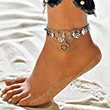 Sethexy Boho En capas Pulsera para el tobillo Hojas de plata Turquesa Multicapa Cadena de pie Ola Colgante playa Foot Jewerly para mujeres y niñas