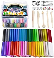 Polymer Clay, 46 Blocks Colored Modeling Clay DIY Soft Craft Clay Set with Sculpting Tools and Accessories in Storage...