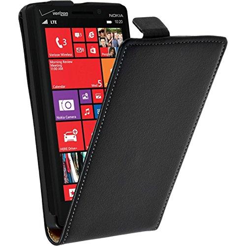 PhoneNatic Kunst-Lederhülle kompatibel mit Nokia Lumia 930 - Flip-Hülle schwarz + 2 Schutzfolien