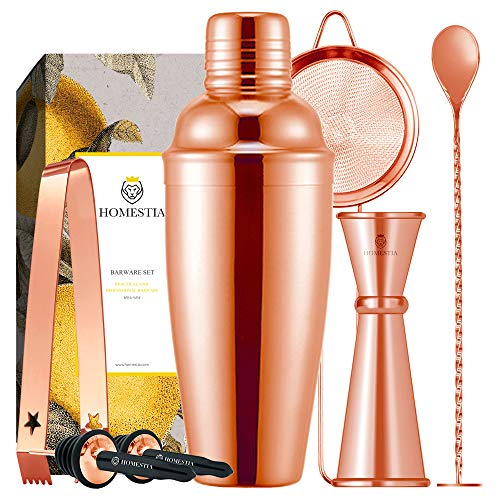 Homestia 7 Pcs Cocktail Shaker Set Bartender Kit Stainless Steel 24oz Martini Shaker, Muddle Spoon,...