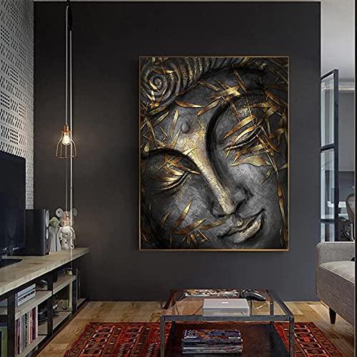 Posters en Prints Hoofd Van Heer Boeddhabeeld Met Gouden Bladeren Wall Art Foto S Voor Kamer Canvas Schilderij Home Decor 72x95cm (28.3x37.4in) Binnenframe