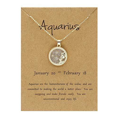 Collar con colgante de 12 constelaciones de horóscopo del zodiaco con colgante de constelación de cristal, collar con colgante de 12 horóscopo con piedra natal para mujer,