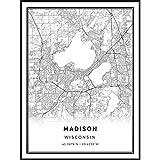 Squareious Madison map Poster Print | Modern Black and White Wall Art | Scandinavian Home Decor | Wisconsin City Prints Artwork | Fine Art Posters 9x11