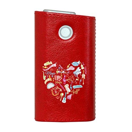 glo グロー グロウ 専用 レザーケース レザーカバー タバコ ケース カバー 合皮 ハードケース カバー 収納 デザイン 革 皮 RED レッド ラブリー ハート 音楽 カラフル 002503