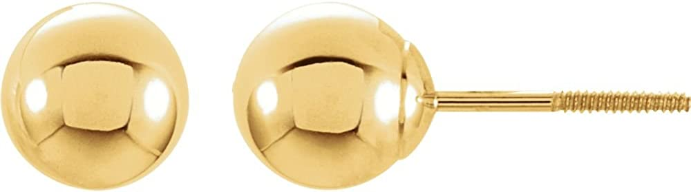 14K Yellow Gold 5mm Round Ball Earrings With Screw Post
