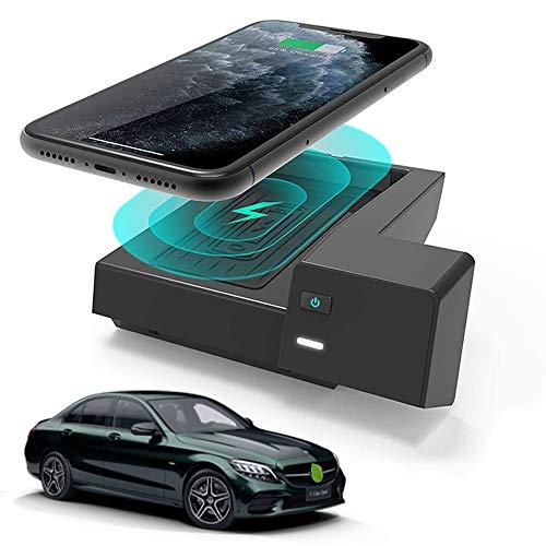 Braveking1 Caricatore Wireless Auto per Mercedes-Benz C-Class GLC 2020 2019 2018 2017 2016 Pannello Accessori Console Centrale, 10W Qi Rapida Ricarica 3 Bobine Telefono Pad per iPhone Samsung Huawei