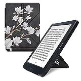 kwmobile Carcasa Compatible con Kobo Nia - Funda magnética de Origami para e-Book - Magnolias marrón Topo/Blanco/Gris Oscuro