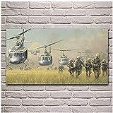 XIANGLL Canvas Prints,war Soldiers Landing Bell Vietnam