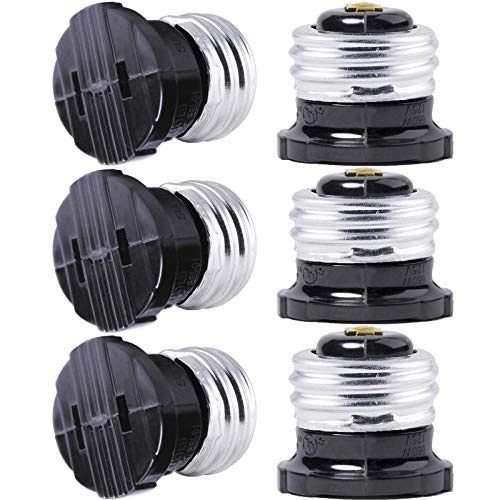SerBion 6 pack E26 the US Standard Screw Light Holder, Plug Adapter, Polarized Handy Outlet (Light Bulb Socket), Light Socket Adapter,Two Holes,Convenient and Practical project, Black