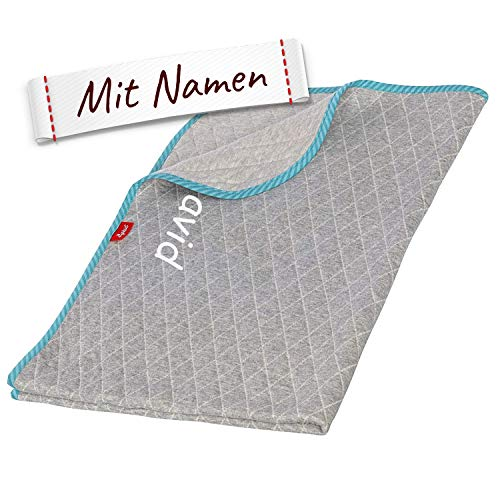 Sigikid Decke Hase mit Namen bestickt, Kinder Schmusedecke personalisiert, 75x100cm, Junge, Baby Edition, Blau/Grau, 39044