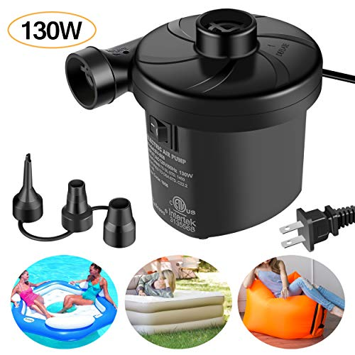 Sailnovo Electric Air Pump, Portable Quick-Fill Air Mattress Pump Couch, Blow up Pool Raft Bed Boat Toy, Inflator Deflator with 3 Nozzles, 110-120 Volt,130W