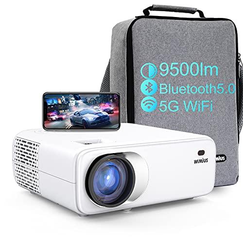 Vidéoprojecteur WiFi Bluetooth, WiMiUS 1080p Full HD Projecteur Portable, 9500 Lumens Retroprojecteur Supporte 4K pour Home Cinéma PPT Présentation, Compatible avec ios/android/ps5/tv Stick